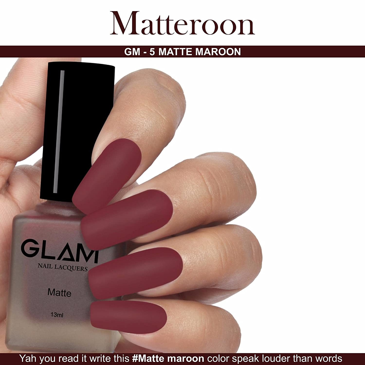 Buy Glam Matte Nail Lacquers - Matteroon / Gm-5 - 13ml Online at Low ...