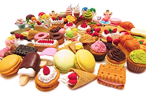 Iwako Assorted Food Cake Dessert Japanese Erasers, 10 Erasers by Iwako