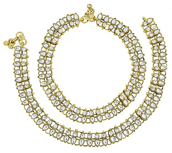 The Jewelbox Bridal Antique Traditional Leaf Design Kundan Look Pair Of Anklet For Women Anklets at amazon