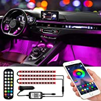 Car Interior Lights - Waterproof Car LED Lights 4pcs 48 LED App Control and Remote Control Car Atmosphere Lights, DIY…