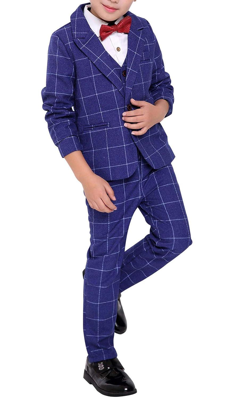 Fengchengjize Little Guys 3Pcs Formal Suit Plaid Dress Suit Jacket Vest & Pants