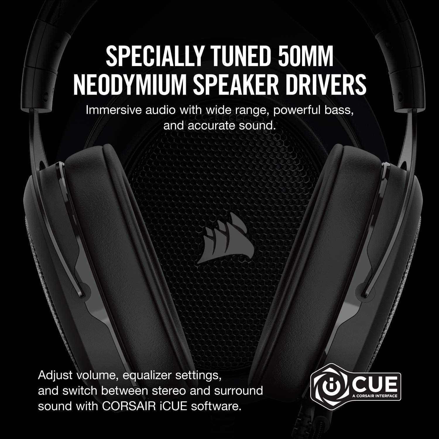 CORSAIR HS60 SURROUND Gaming Headset CA-9011173-AP 【Japan Domestic genuine products】【Ships from JAPAN】 BLACK