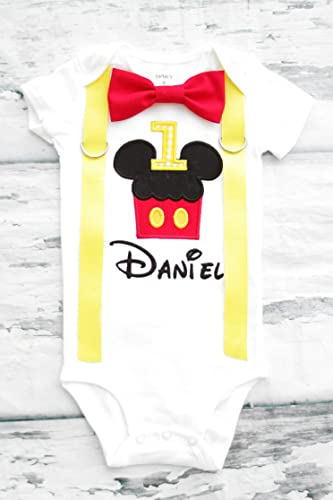 Amazon Baby Boy First Birthday Mickey Mouse Cupcake Ears Cake Smash One Year Outfit Handmade