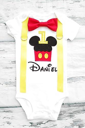 43b0b829d Amazon.com: Baby Boy first birthday Mickey Mouse cupcake ears First birthday  baby boy cake smash Mouse Ears one year birthday outfit birthday baby:  Handmade