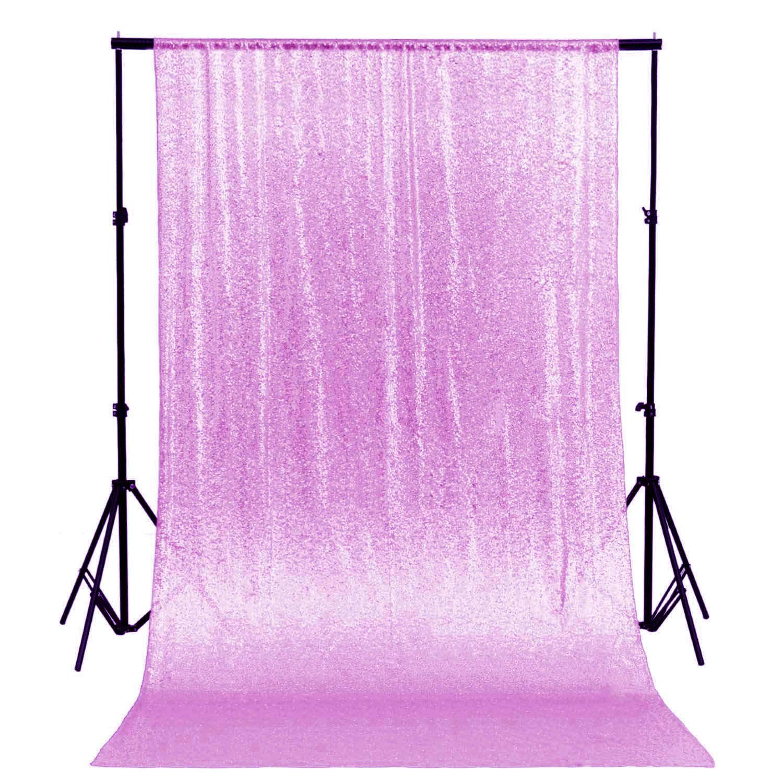 グリッター 背景 シャワーカーテンセット キラキラスパンコール ファブリ 写真撮影用背景幕 ~0905S 5FTx6FT Sequin Backdrop Curtain Lavender 5x6   B07NZ35LN1