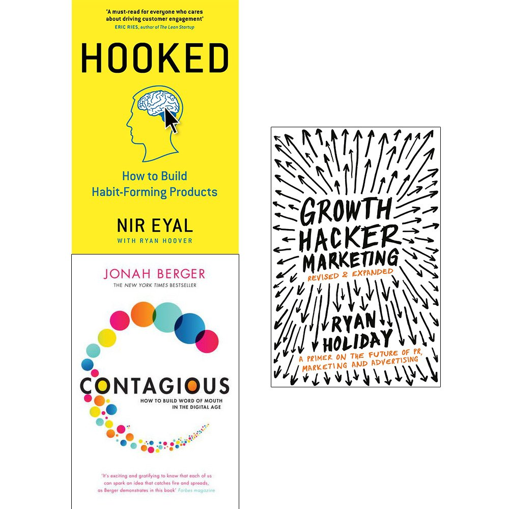 Hooked [hardcover], contagious and growth hacker marketing 3 books  collection set Paperback – 2018