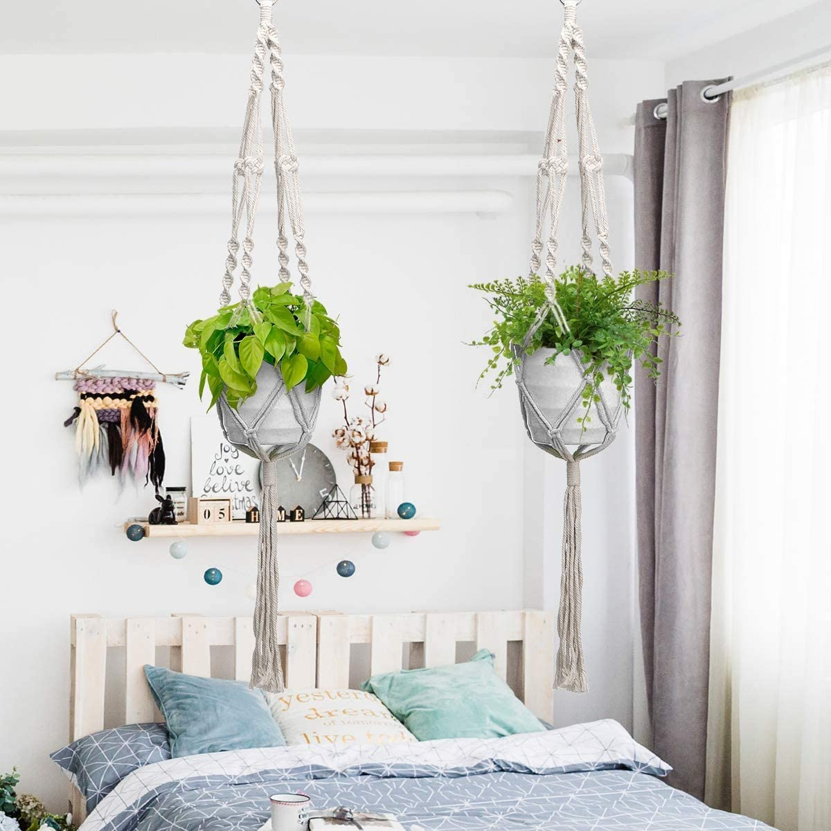 Macrame Plant Hangers 2 Pack and Hooks,Hanging Planter Basket Decorative Flower Pot Holder Jute Rope with Beads No Tassels for Indoor Outdoor Car Home Decor Party Supplies Gift Box