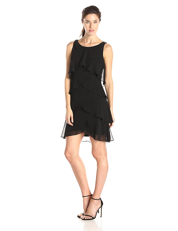 fd54481e7c8 S.L. Fashions Women s Jewel-Strap Tiered Cocktail Dress at Amazon ...