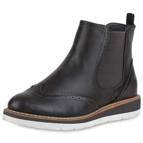 10709c9a9ddf SCARPE VITA Damen Chelsea Boots Leicht Gefütterte Stiefeletten Wedges  147639 Grau 36