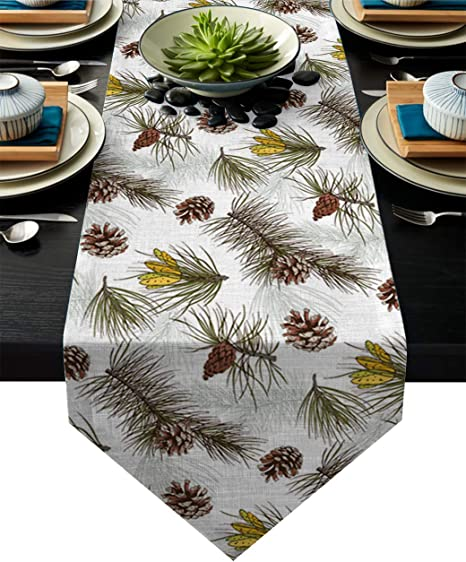 Linen Burlap Table Runner Dresser Scarves Christmas Theme Pine Cone Kitchen Table Runners For Dinner Holiday Parties Wedding Events Decor 13 X 70 Inch Home Kitchen
