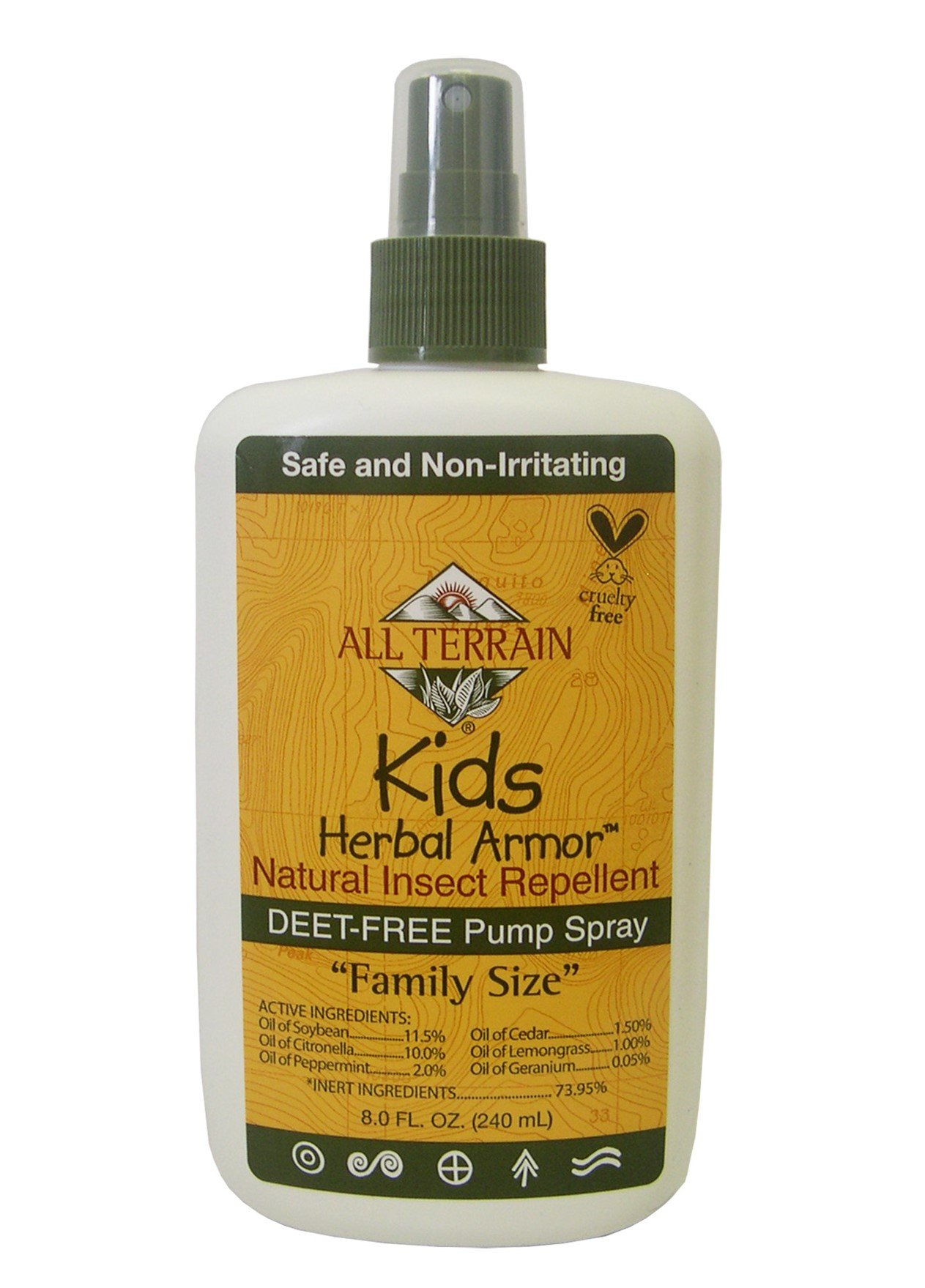 All Terrain Kids DEET-Free Herbal Armor Insect Repellent, 8 Ounce, Safe for Sensitive Skin, Effective Bug Spray Formula with Natural Essential Oils, Great for Travel, Camping, Outdoor Activities