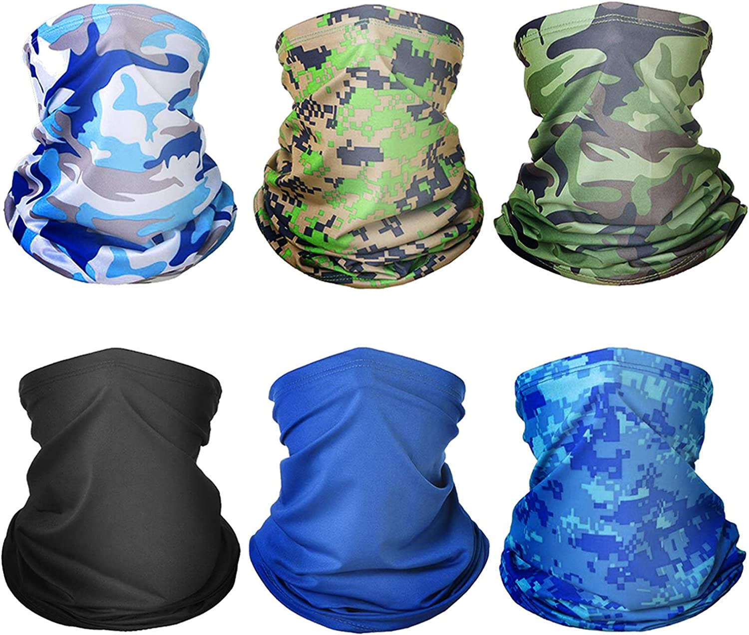 6 Pieces Seamless Bandana Face Mouth Mask,UV Protection Outdoor Face Cover Neck Gaiter Sports Scarf for Motorcyle Cycling Running Riding
