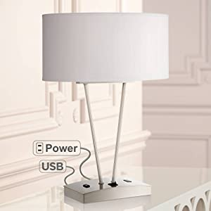 Leon Modern Table Lamp with Hotel Style USB and AC Power Outlet in Base Silver White Oval Shade for Living Room Family Bedroom - Possini Euro Design