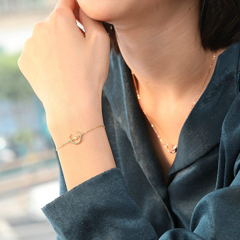 Aooaz Silver Bracelet for Women Crescent Bracelets White Cubic Zirconia Moon and Star Gold Vintage Bangle Bracelets