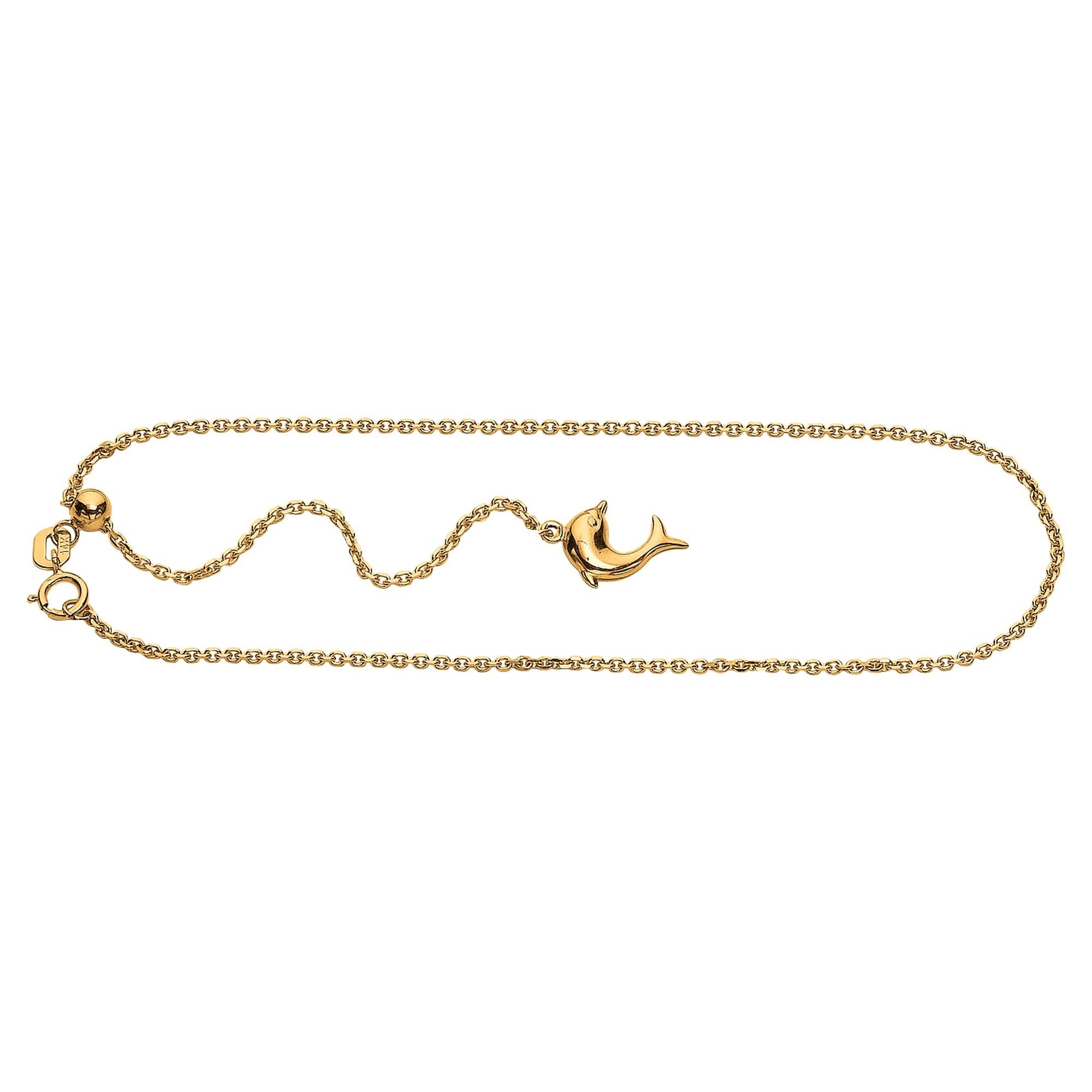 14K 11'' Yellow Gold Adjustable Cable Chain Anklet with Spring Ring Clasp+Dolphin Charm