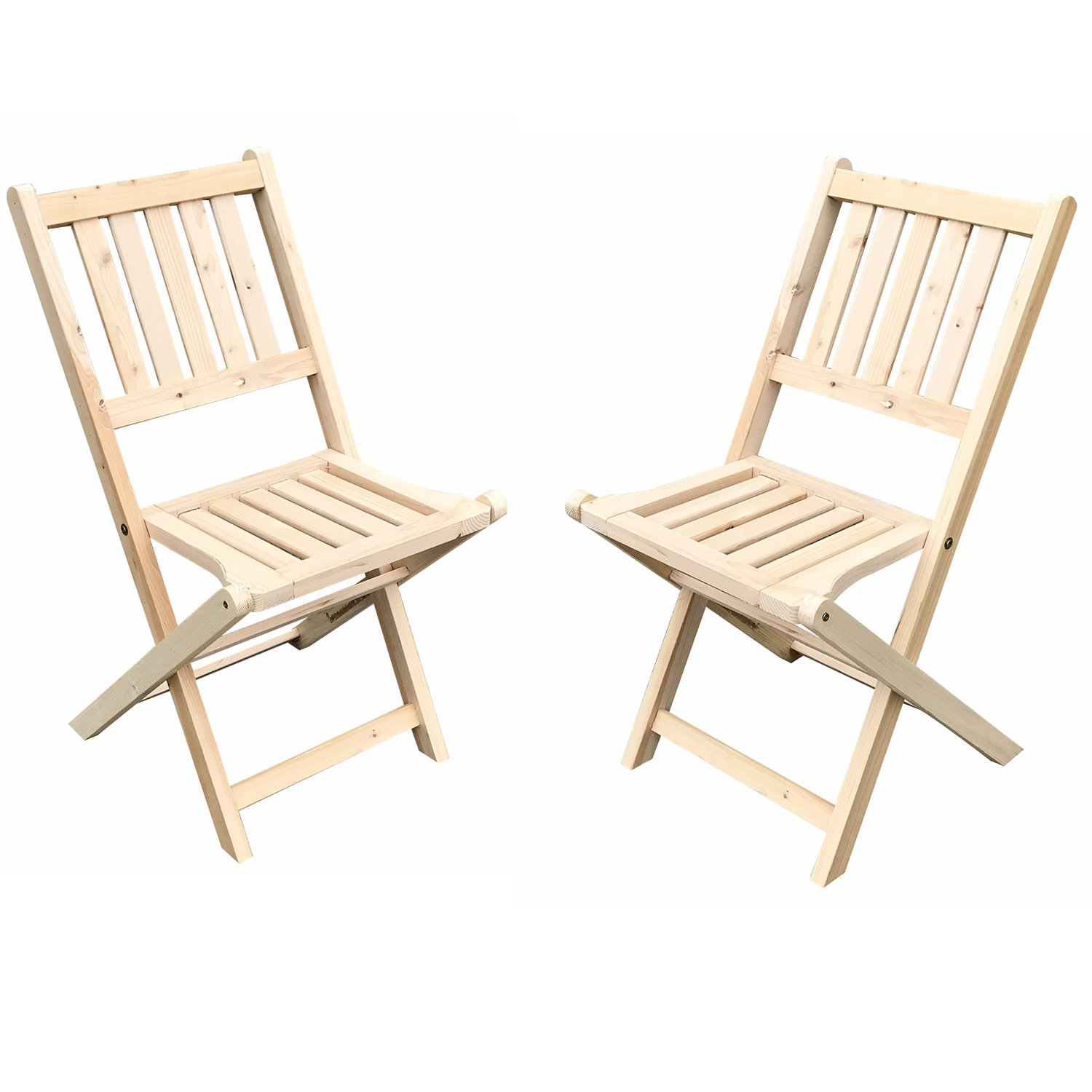 Sliverylake Outdoor Wood Chair and Table Set Folding Patio Bistro (2 Chaises)