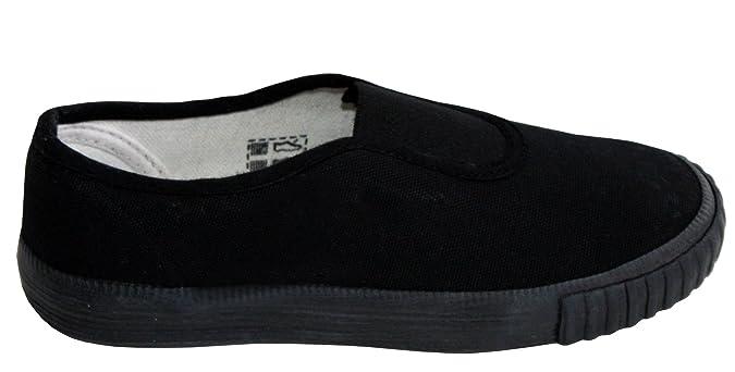 ce841c8171ac Boys Girls Unisex DEK Slip On Canvas Elastic Gusset Black Flat School Pumps  Plimsolls Trainers Shoes Infant-Youth Sizes 10-5  Amazon.co.uk  Shoes   Bags