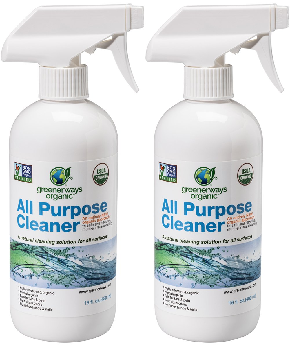 Greenerways Organic All-Purpose Cleaner, Natural USDA Organic Non-GMO, Best Household Multi Surface Spray Cleaner for Home, Natural House Cleaner, Safe House Cleaner - 2 Pack (2) 16oz, MSRP $23.98