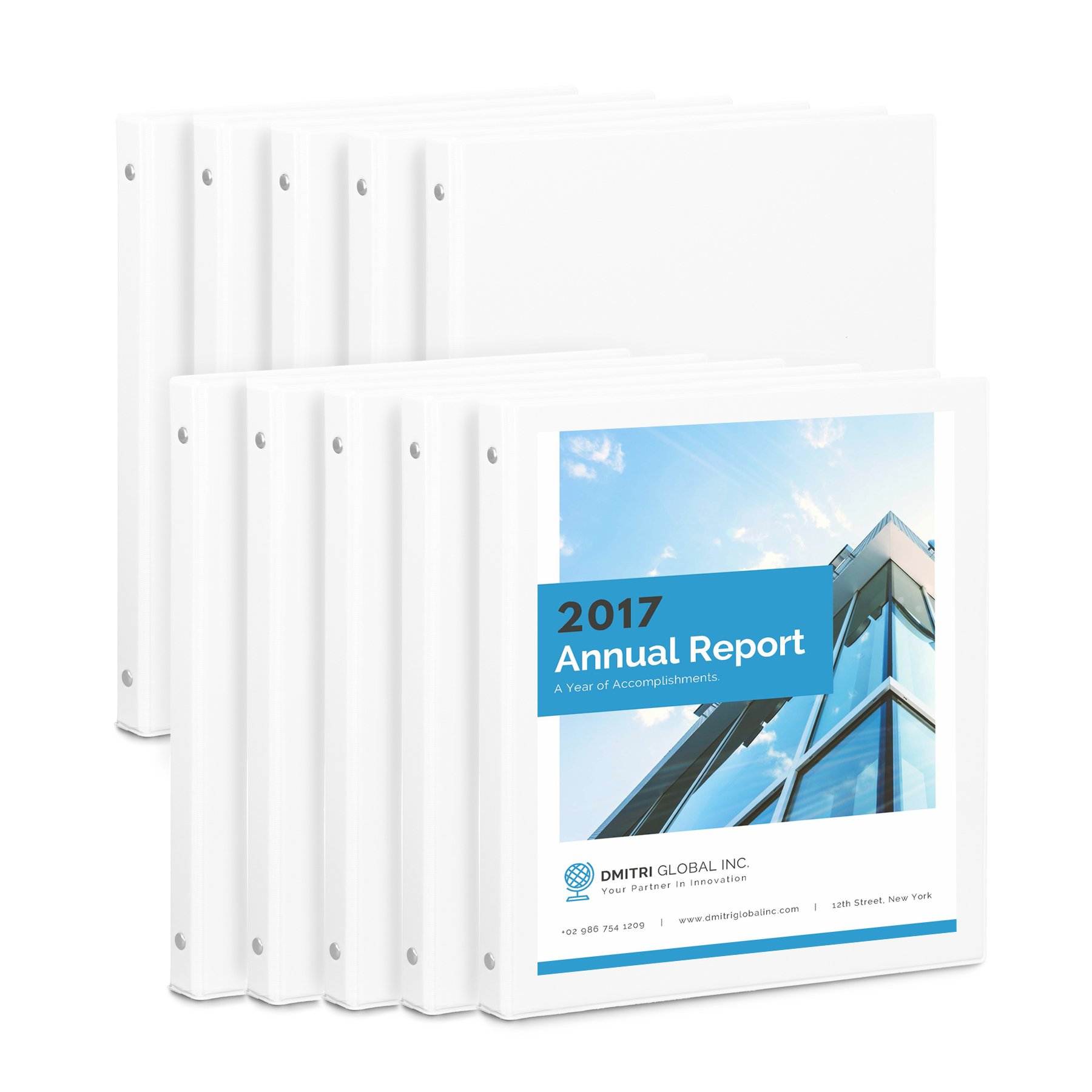Blue Summit Supplies 10 Pack of 1/2 inch 3-Ring Economy Binders, White, Bulk Clear Cover Binders for Home, Office, and School, 8 1/2 inch x 11 inch Paper, Value Pack