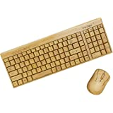 Wireless Bamboo Bluetooth Keyboard and Mouse – Natural, Handmade, Eco-Friendly Mouse and Keyboard – 2 Keypads Compact Cordless Keyboard and 3-Button Mouse with Scroll Wheel Plus Wood Pen by Trio Gato