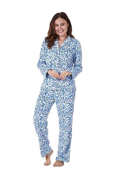 Conjunto de pijama para mujer - Forro polar - Estampado - Estampado animal en azul -