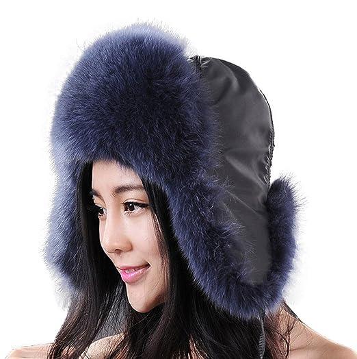 Fur Story Women s Trapper Hat with Real Fur Earmuffs Warm Winter Fur Hat  060101 Blue 2823bca8757