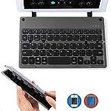 AGPTEK Teclado Bluetooth Plegable, Ultra Delgado, Ligero, Recargable, Plegable, inalámbrico, con Soporte Integrado para Todos los Windows iOS Android Tablet Smartphone iPad Mac & More – Negro