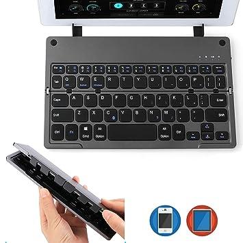 AGPTEK Teclado Bluetooth Plegable, Ultra Delgado, Ligero, Recargable, Plegable, inalámbrico,