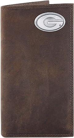 NCAA Georgia Bulldogs Brown Crazyhorse Leather Roper Concho Wallet One Size