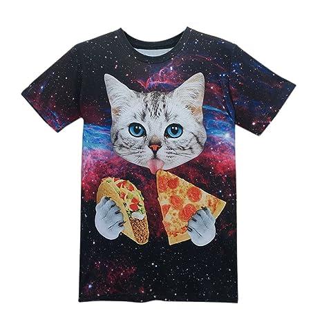 Hombres camiseta smdoxi Unisex 3d impreso verano casual camisetas gatos comer Pizza ☂ sólo para