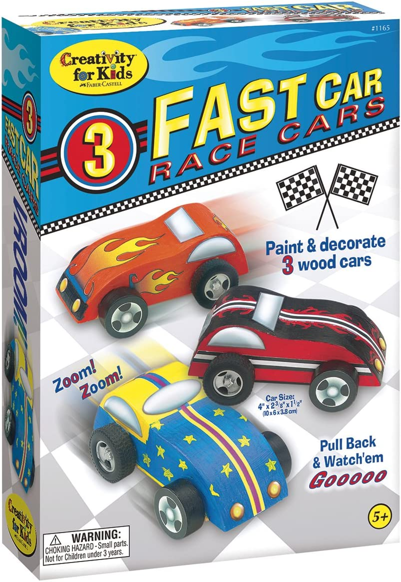 Amazon.com: Creativity for Kids Fast Car Race Cars Craft Kit - Paint and  Decorate 3 Wooden Cars: Home Improvement