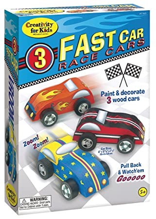 creativity for kids fast car race cars craft kit paint and decorate 3 wooden cars