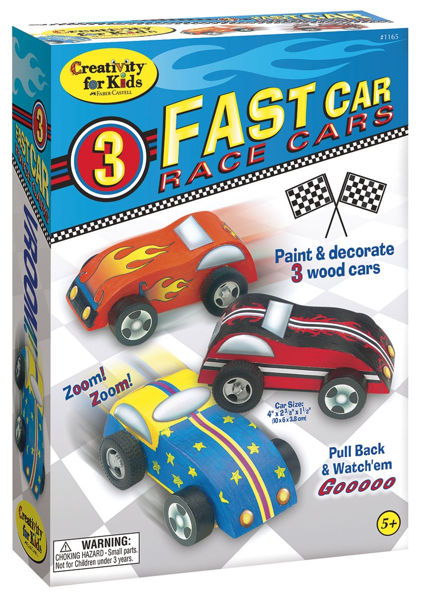 Creativity for Kids Fast Car Race Cars Craft Kit - Paint and Decorate 3 Wooden Cars