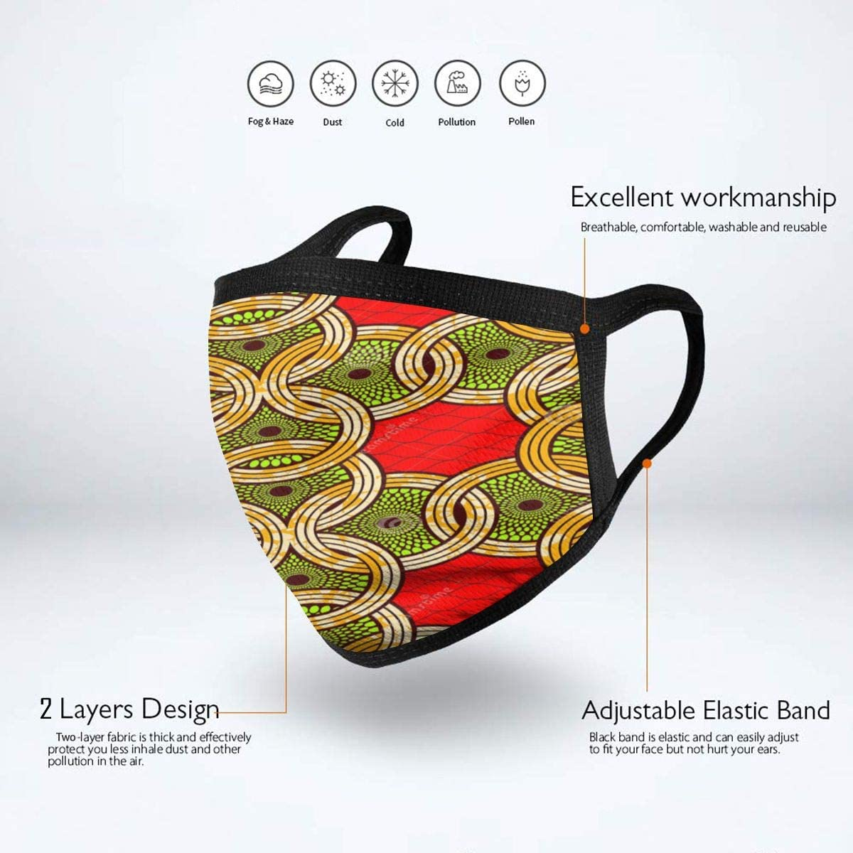 Fashion African Print Fabric Super Wax Abstract Mouth-Muffle Health Mouth Covers Reusable Outdoor Face Cover for Adults Teens