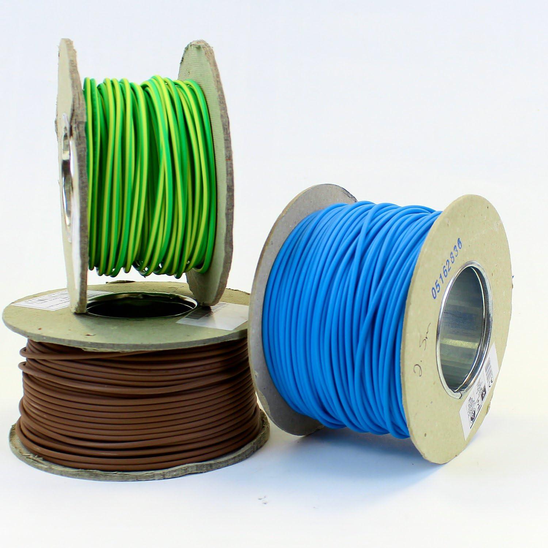 marron neutre C/âble monoconducteur 6491/X de 1,5/mm Bleu vif jaune//vert Rouleau complet et longueurs personnalis/ées disponibles