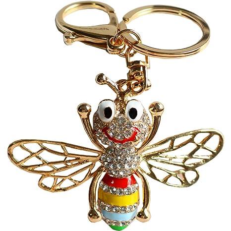 Amazon.com: bolbove Honeybee con gran sonrisa llavero ...