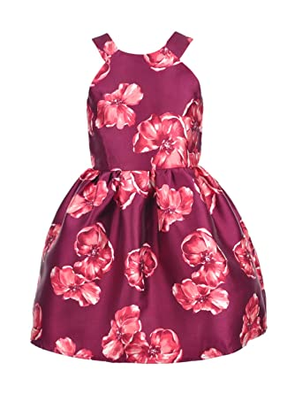 d99f91bd5 Poppies and Roses Big Girls' Dress - Burgundy, 8: Amazon.co.uk: Clothing