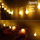 Lalapao Global String Lights 2 Pack 19ft 40 LED Starry Lights Xmas Battery Powered Fairy Light Waterproof Christmas Lighting Decor with 5 Modes for Outdoor Indoor Partly Garden Wedding (Warm White)