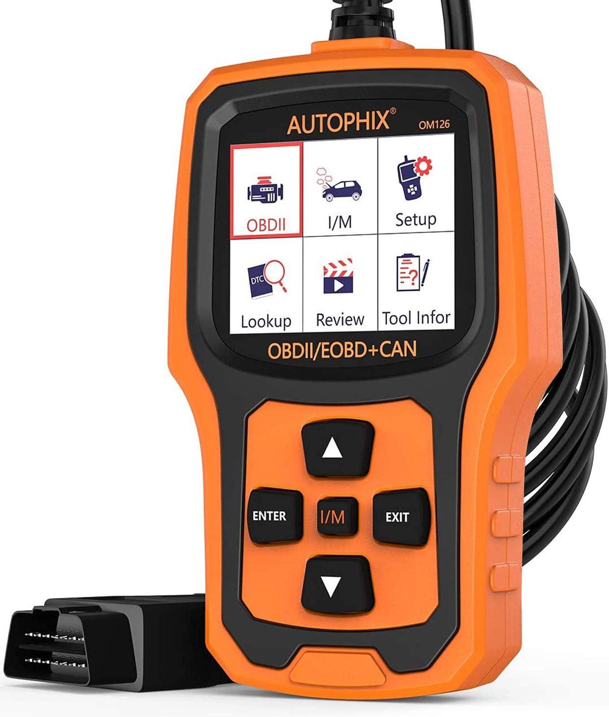 Autophix Obd2 Auto Diagnosegerät Universal Obd Ii Code Scanner Motordiagnose Werkzeug Kfz Pkw Fehlerauslesegerät Mit Sauerstoffsensortest Schwarz Orange Auto