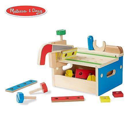 cb0a3d8a9 Amazon.com  Melissa   Doug Hammer and Saw Tool Bench - Wooden Building Set  (32 pcs)  Melissa   Doug  Toys   Games