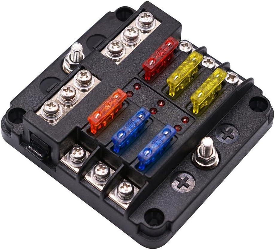 happygirr Portafusibles Portafusibles de 12 Ranuras para autom/óvil DC 32 voltios 100 amperios Bloque de fusibles est/ándar con Cubierta de indicador LED para Auto Boat Marine Trike