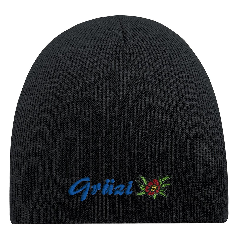 Fan-O-Menal Beanie mit Einstickung - Grüzi Blume Enzian - 54837 schwarz - Strickmütze Wollmütze Skimütze