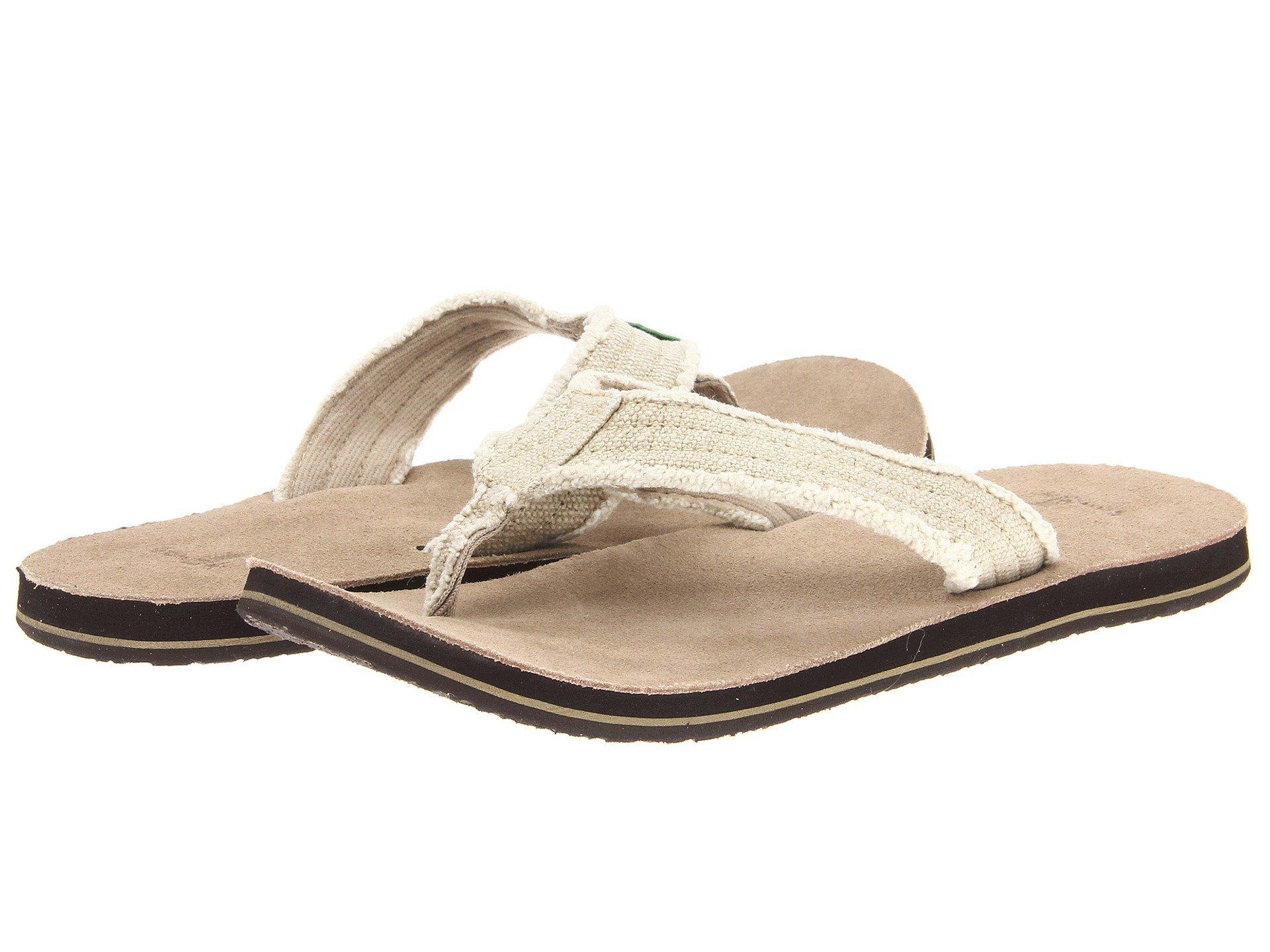 Sanuk Men's Fraid Not Flip-Flop Natural Size 8