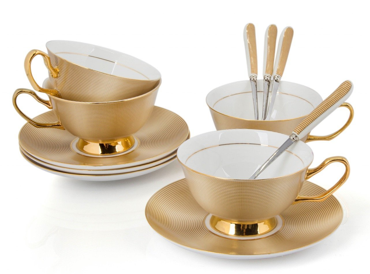 Porcelain Tea Cup and Saucer Coffee Cup Set Golden color with Saucer and Spoon 8 oz set of 4