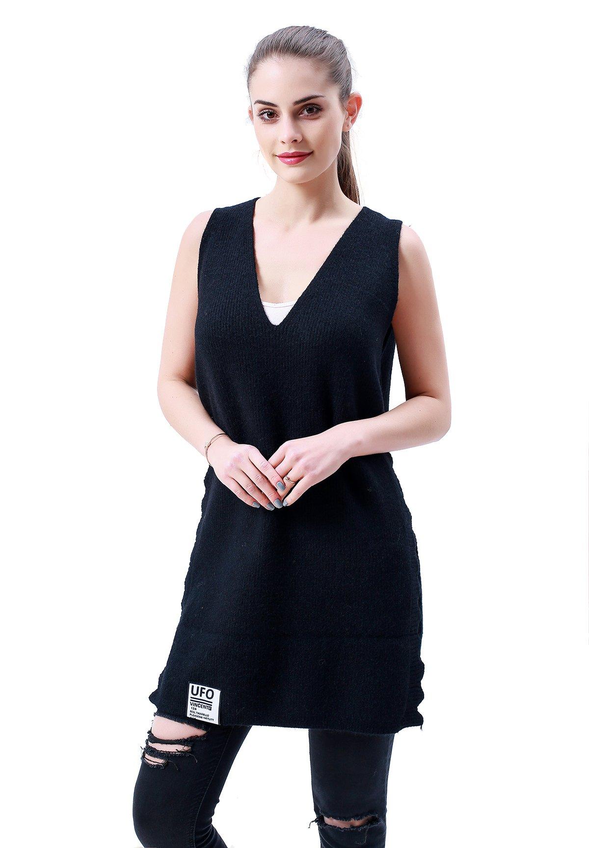 MEEFUR Women's Autumn Stylish Sleeveless Knitwear Cotton Long Pullover Deep V-Neck Hole Design Sexy Sweater Vest Black