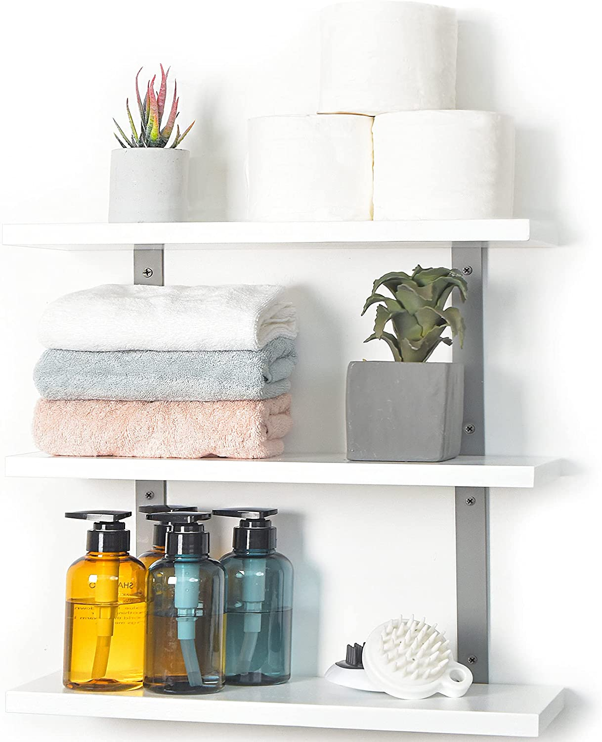 JS HOME White Floating Wall Shelves,16.9 Inches Adjustable Angle Wall Shelves, Floating Shelves Mount Wall, Hanging Wall Shelves for Bedroom, Bathroom, Living Room, Kitchen, White