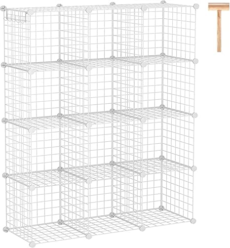 Wire Cube Storage Organizer 12-Cube Metal Grid Bins Shelving Modular Bookshelf