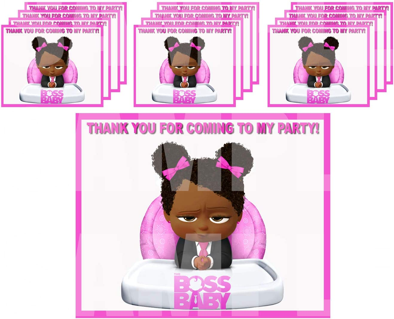 """Black Girl Boss Baby Stickers Party Favors Supplies Decorations Gift Bag Label Stickers ONLY 3.75"""" x 4.75"""" -12 pcs African American"""