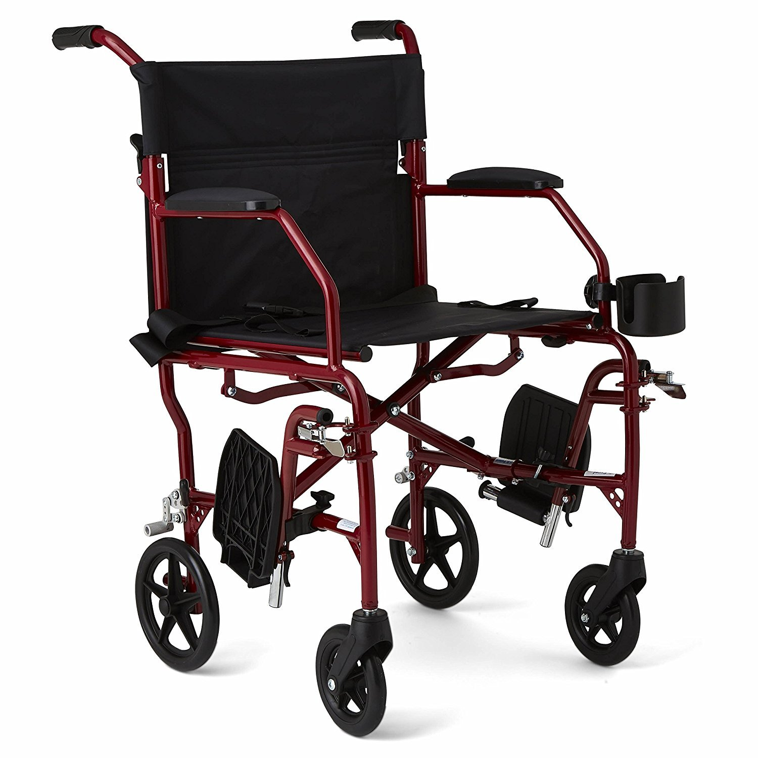 Wheelchair Transport Chair 19'' Ultralight With Cup Holder