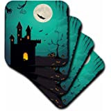 3dRose cst_152299_3 Halloween Haunted House with a Full Moon, Bats, and Pumpkins Ceramic Tile Coasters, Set of 4